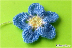Незабудка handmade цветок. Вязание крючком.