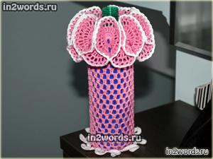 Ваза handmade, обвязка для вазы, вязаное кашпо. Вязание крючком.