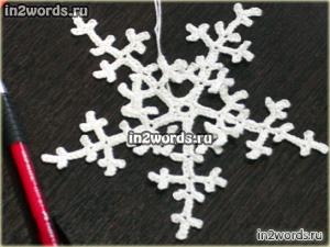 Снежинка-звезда handmade. Очень простая и ветвистая. Вязание крючком.