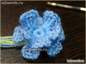 Цветок для начинающих handmade. 15 лепестков, в 3 слоя. Вязание крючком.