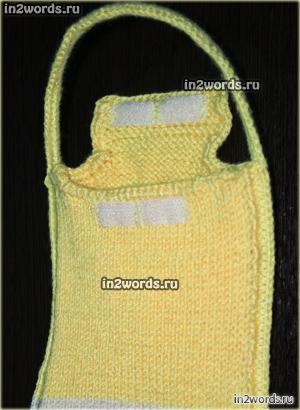 Сумочка для телефона по мотивам мультика Спанч Боб (Sponge Bob) handmade. Вязание крючком и спицами.