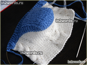 Носки резинка с косами и свободным верхом на 2 спицах. Вязание спицами.