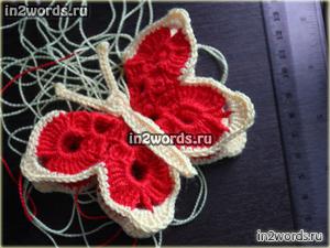 Бабочка двухсторонняя, игрушка или украшение. Вязание крючком.