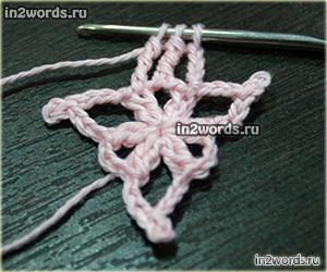 Мотив треугольника с веточками, поэтапный мастер-класс. Вязание крючком.