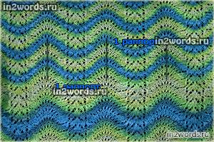 """Ажурный узор волнами """"в стиле Миссони"""" из секционной пряжи. Вязание спицами."""