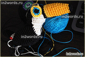 Тукан в стиле амигуруми. Handmade игрушка. Вязание крючком.