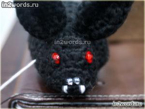 Летучая мышь в стиле амигуруми. Авторская handmade игрушка. Вязание крючком.