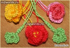 Розы. Цветы и листья для Hello Kitty или украшения. Вязание крючком.