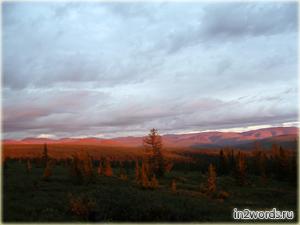 Тундра, горы, лес, река. Облака, закат, величие и красота - Инта. Россия.
