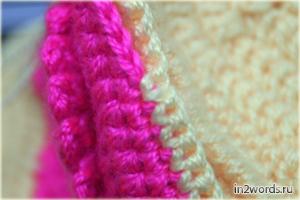 Соединение вязанных полотен с помощью столбиков без накида. Вязание крючком.