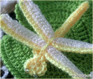 Стрекоза handmade, аппликация. Вязание крючком.