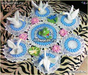 Лебединое озеро handmade, большая салфетка-композиция. Вязание крючком.
